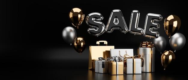 Luxe adverteren bannerontwerp met zwarte en gouden verkoopbanner op zwarte achtergrond