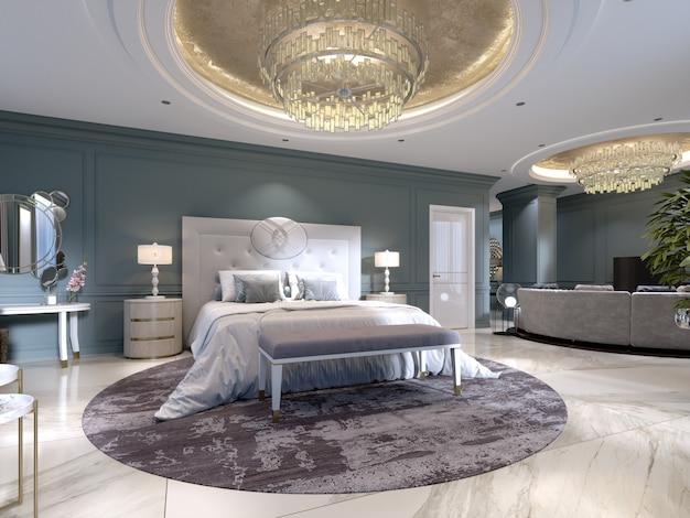 Luxe appartementen met een slaapkamer en woongedeelte in eigentijdse stijl met klassieke elementen, blauwe muren en lichte meubels. 3d-rendering