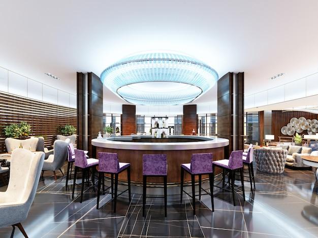Luxe barset met paarse barkrukken en wit marmeren werkblad. grote blauwe kroonluchter met neonlichten. modern interieur van de bar. 3d-rendering.