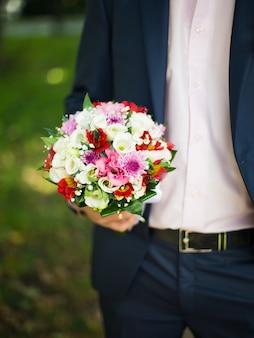Luxe bruiloft boeket close-up