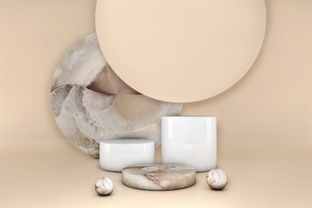 Luxe bruin marmeren cirkel podium op beige pastel achtergrond. showcase van de conceptscène, product, parfum, promotieverkoop, presentatie, cosmetica. 3d illustratie