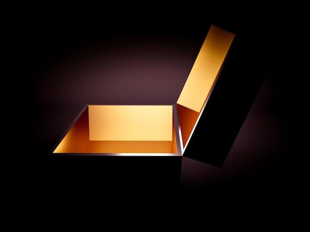 Luxe cadeauverpakking voor de feestdagen. de doos is goud van binnen en donker van buiten. 3d illustratie, 3d-rendering.
