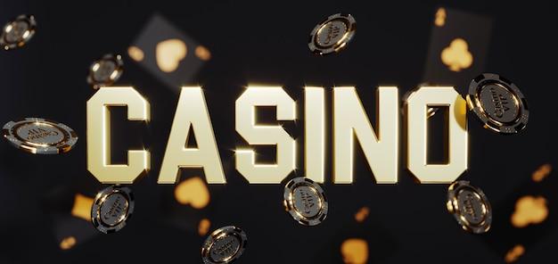 Luxe casino achtergrond. pokerfiches vallen premium foto