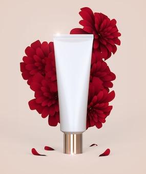 Luxe cosmetische verpakking voor huidverzorging met romantische bloemenroze papieren kunstboom