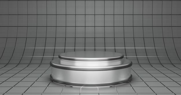 Luxe eenvoudige zilveren podiumachtergrond voor productshowcase