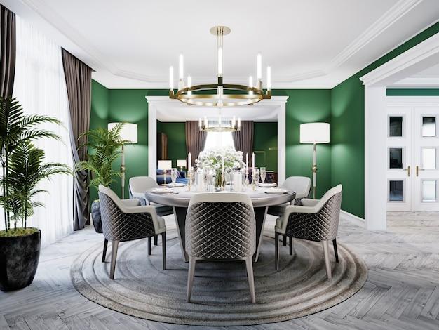 Luxe eetkamer in een groot huis, met een ronde tafel voor zes personen. leren stoelen, marmeren werkbladen, tv-meubel, dressoir, groene muren. 3d-weergave.
