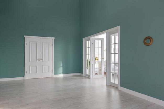 Luxe en duur interieur van een open appartement in lichte kleuren. stijlvolle moderne slaapkamer met minimaal design, eethoek en logeerruimte.
