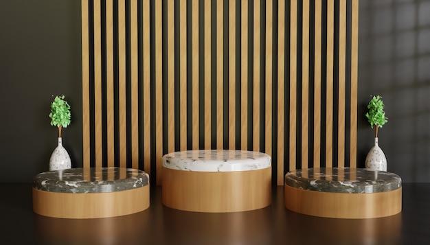 Luxe en minimalistisch podium showcase podium, meerdere minimalistische keramische marmeren showcase stand achtergrond