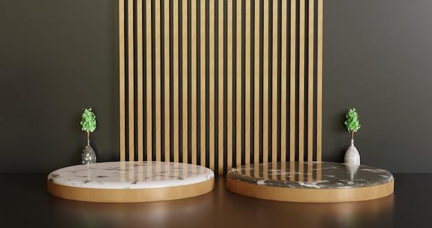 Luxe en minimalistisch podium showcase podium, twee minimalistische keramische marmeren showcase stand achtergrond