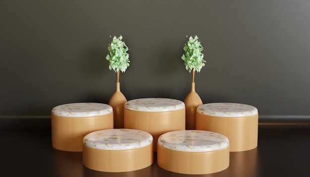 Luxe en minimalistisch podium showcase podium, witte minimalistische keramische marmeren standaard voor product showcase