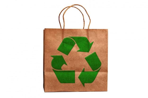 Luxe gerecyclede papieren boodschappentas en recyclingssymbool