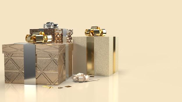 Luxe geschenkdoos op goud. 3d-weergave.