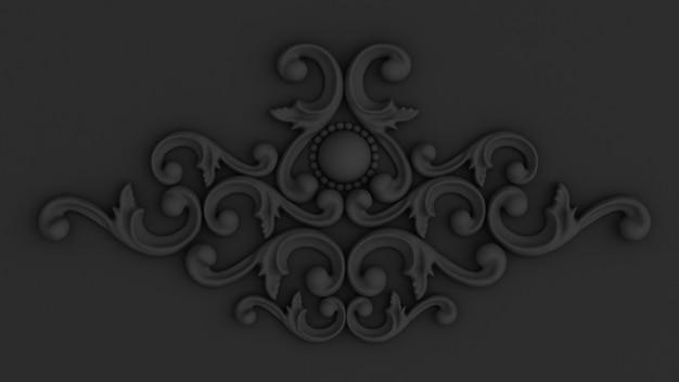 Luxe gips decoratie-element van muur concept stucwerk 3d-rendering