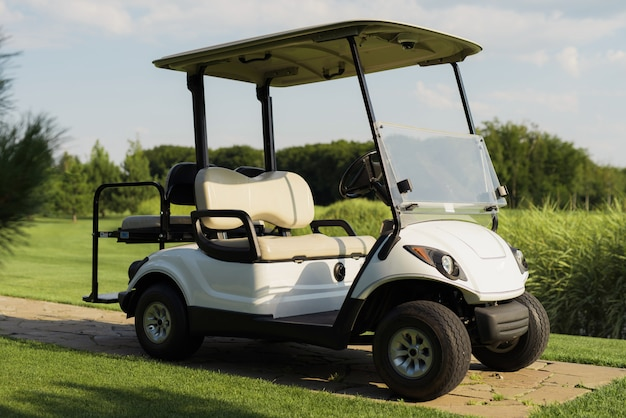 Luxe golf car op verse groene golfbaan in zonsondergang.