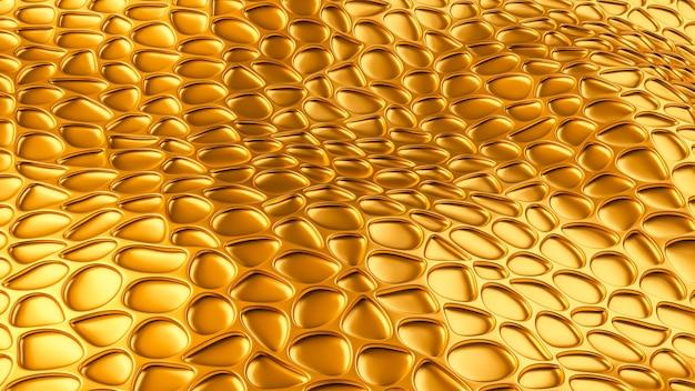 Luxe gouden achtergrond met leder texture. 3d-afbeelding, 3d-rendering.