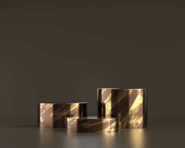Luxe gouden platform podium 3d-rendering op zwarte achtergrond