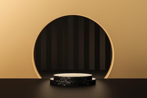 Luxe gouden product achtergronden podium of leeg podium sokkel 3d render