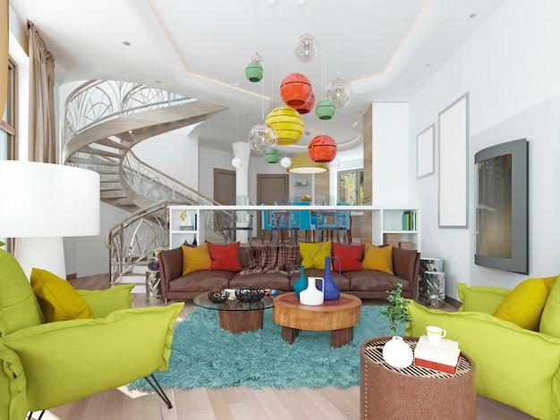 Luxe grote woonkamer in de stijl van kitscherig met grote leren bruine bank