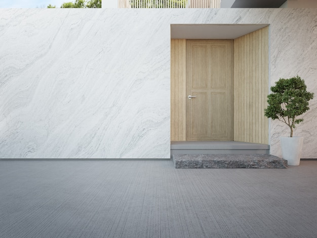 Luxe huis met marmeren muur en houten voordeur in modern design