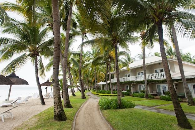 Luxe huis op mauritius, met een groen gazon en palmbomen.