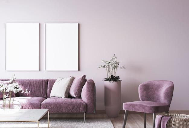Luxe interieur met frame mockup op roze muur