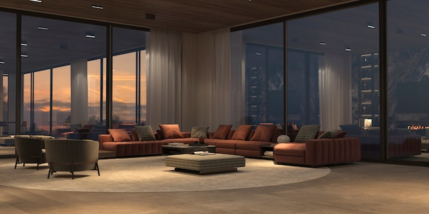 Luxe interieur met panoramische ramen en uitzicht op de zonsondergang, moderne grote bank met fauteuils, tapijt, stenen vloer en houten plafond. design open woonkamer met nachtverlichting. 3d render illustratie.