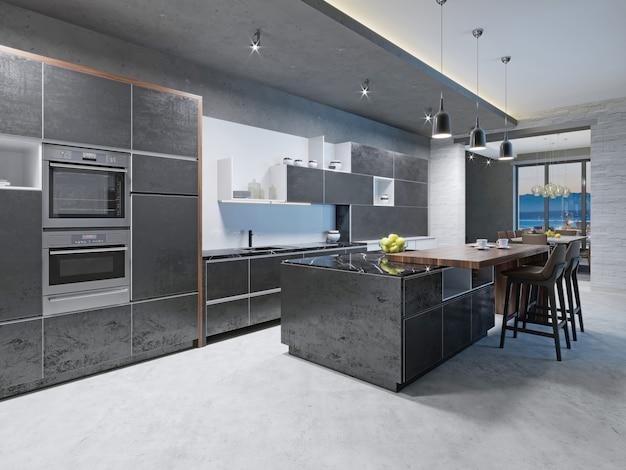 Luxe keuken met rvs inbouwapparatuur in eigentijds herenhuis. 3d-rendering