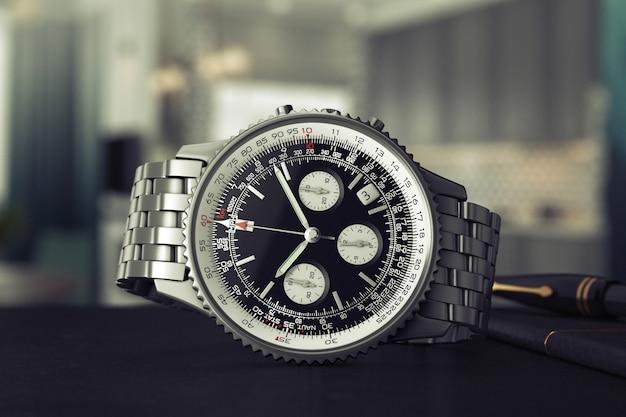 Luxe klassieke analoge heren pols zilveren horloge op een tafel extreme close-up. 3d-rendering