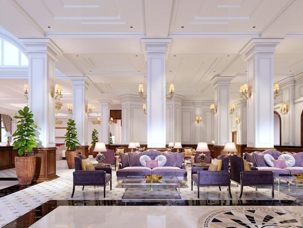 Luxe klassieke meubels in art deco stijl, zacht paarse bank en fauteuils met zwart metalen poten en een glazen salontafel in een klassiek interieur. 3d-rendering.