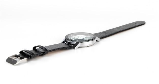 Luxe lederen mannen hand horloge geïsoleerd op wit