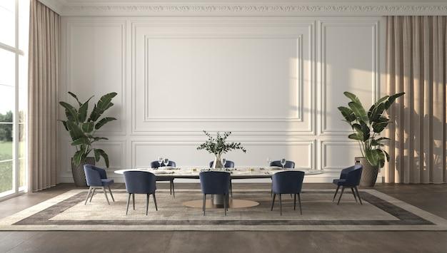 Luxe lichte eetkamer met zonlicht en elegante 3d render illustratie beige interieur