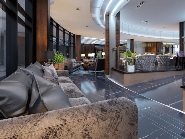 Luxe lobby entree met lounge in hotel. 3d-rendering