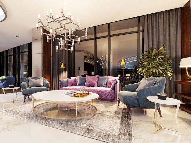Luxe lobby in een modern hotel met een comfortabele bank en designfauteuils. 3d-rendering
