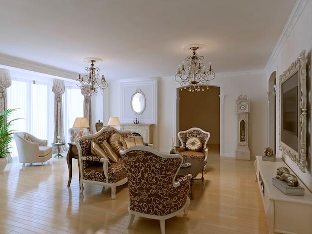 Luxe lobby voor vijfsterrenhotel in neoklassieke stijl