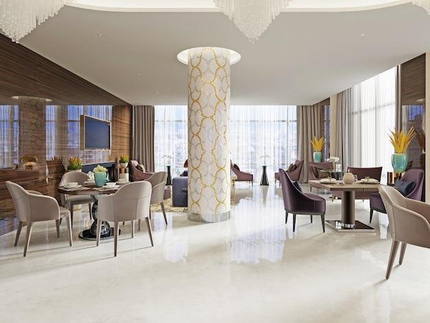 Luxe loungebar interieur. 3d-rendering
