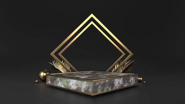Luxe marmeren box podium en gouden bladeren op zwarte achtergrond.