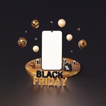 Luxe mockup van de smartphone voor black friday op het podium 3d-rendering