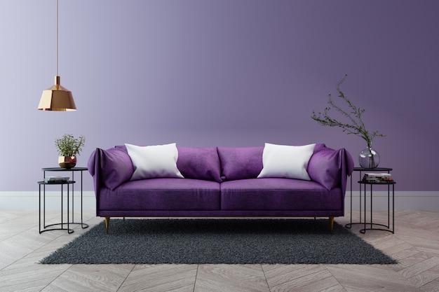 Luxe modern interieur van de woonkamer, ultraviolet home decor concept