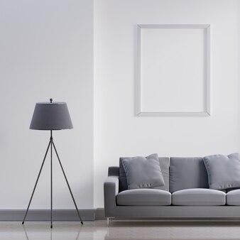 Luxe modern interieur van witte en grijze toon woonkamer Premium Foto