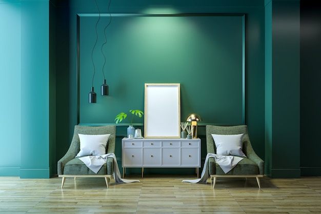 Luxe, modern interieur, witte lounge stoel met gouden lamp en witte buffetkast