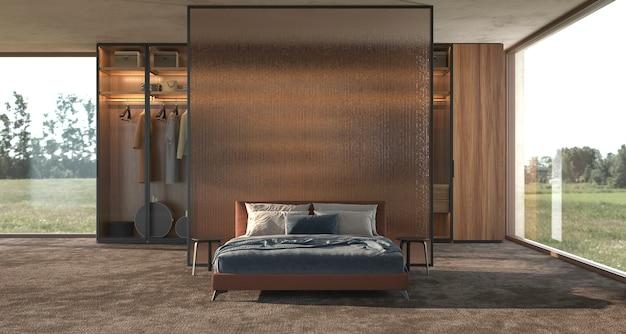 Luxe moderne interieur designer slaapkamer met panoramische ramen uitzicht 3d render illustratie