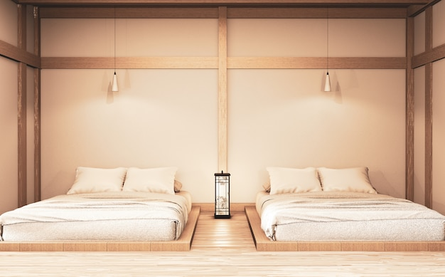 Luxe moderne slaapkamer in zen-stijl, de mooiste ontwerpen. 3d-weergave