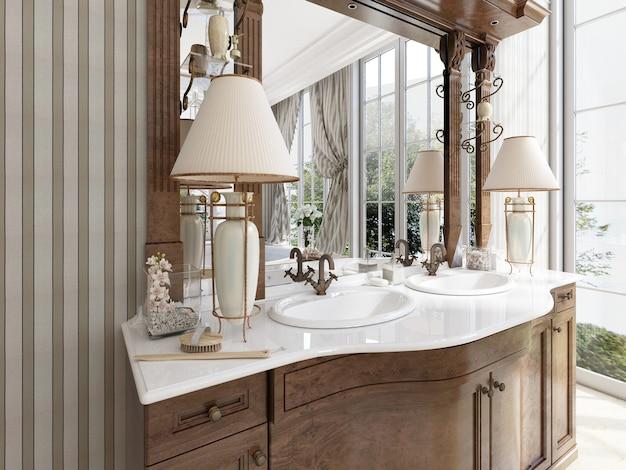 Luxe neoklassieke meubels in moderne stijl in de badkamer. dubbele ijdelheid badkamer met twee tafellampen en planken. 3d render.