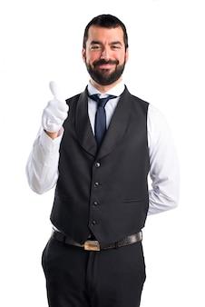 Luxe ober met duim omhoog
