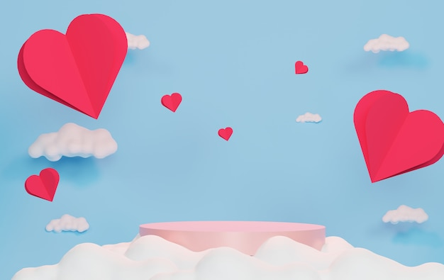 Luxe podium met papier hart drijvend in de blauwe lucht en de witte wolk. roze geschenkdoos, roze ballon en hart op pastel achtergrond. fijne valentijnsdag.