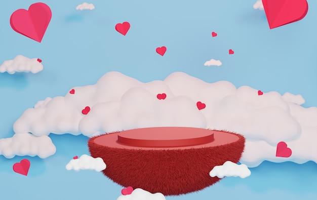 Luxe podium met papier hart zwevend in de blauwe lucht en de witte wolk. roze geschenkdoos, roze ballon en hart op pastel achtergrond. fijne valentijnsdag.