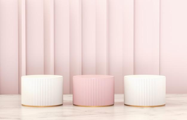 Luxe roze en witte cilinderpodiumwand voor productweergave.