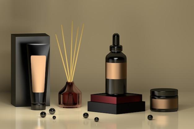 Luxe setje cosmetische flessen in zwart en paars met glazen parfumverspreider in huis en glanzende zwarte kralen.