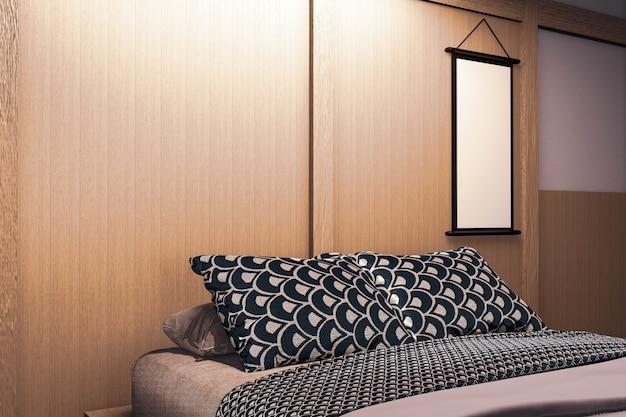 Luxe slaapkamer in moderne japanse stijl, de mooiste ontwerpen. 3d-weergave