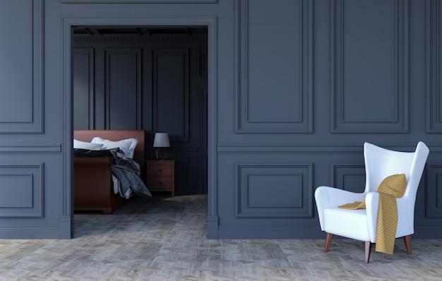 Luxe slaapkamer interieur in modern klassiek design, 3d-rendering